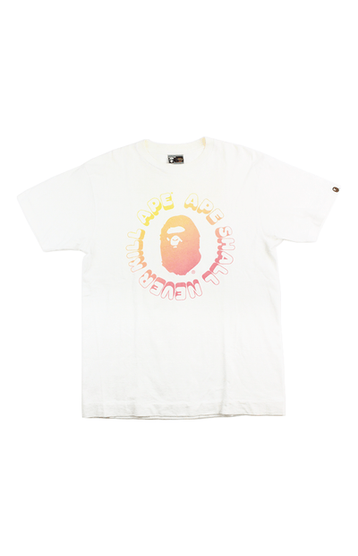 Bape Orange Gradient Ape Circle Text Tee White - SaruGeneral