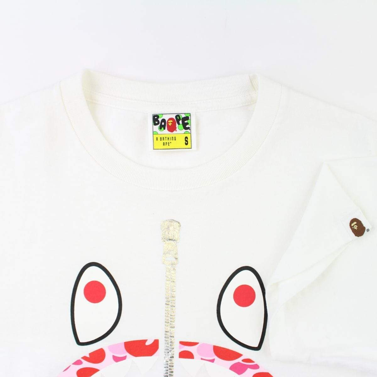 Bape Pink Camo Baby Milo Shark Face Tee White - SaruGeneral