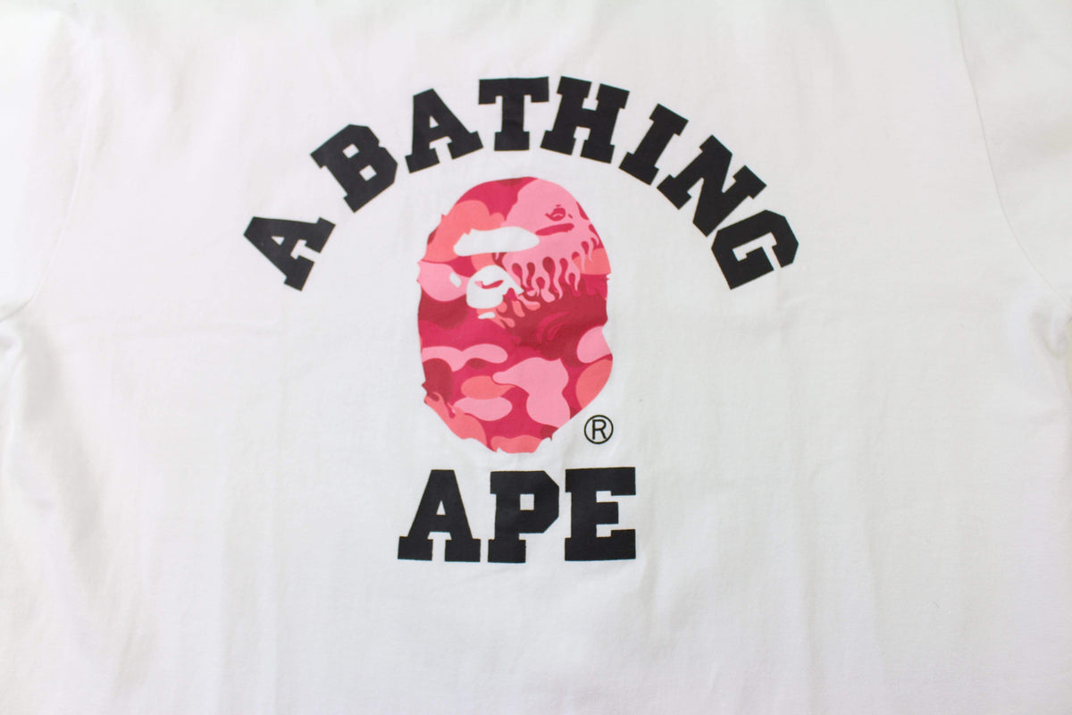 Bape Pink Flame Camo College Logo Tee White - SaruGeneral