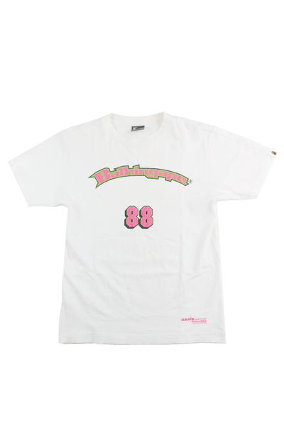 Bape Pink & Green 88 Tee White - SaruGeneral