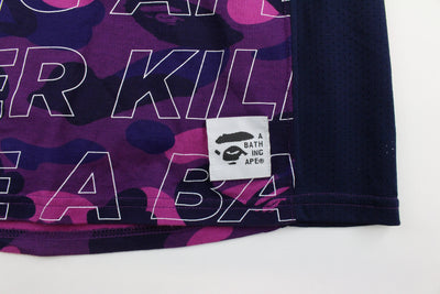 Bape Purple Camo Stencil Text All Over Tee - SaruGeneral