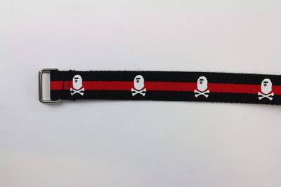 Bape Red & Black Crossbones Belt - SaruGeneral