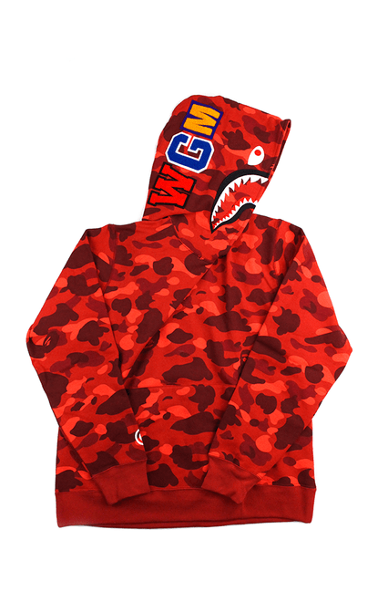 Bape Red Camo Pullover Shark Hoodie Red - SaruGeneral