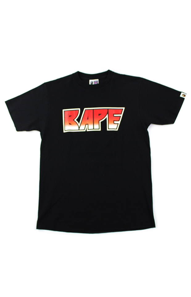 Bape Red Kiss Text Tee Black - SaruGeneral