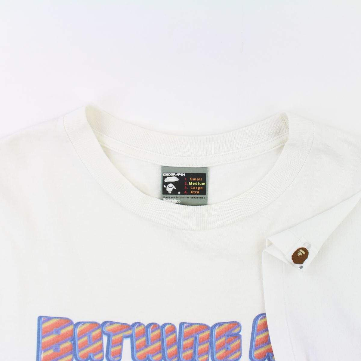 Bape Red & Yellow Stripe Text Tee White - SaruGeneral