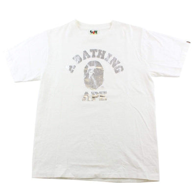 Bape Silver Foil College Logo Tee White - SaruGeneral