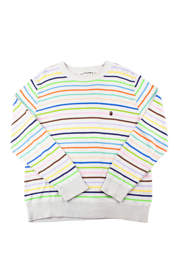 Bape Small Ape Head Logo Coloured Stripes Crewneck - SaruGeneral