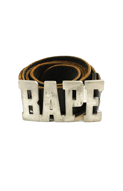 Bape Text Buckle Brown Leather Belt - SaruGeneral