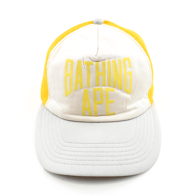 Bape Text Logo Trucker Hat Yellow - SaruGeneral
