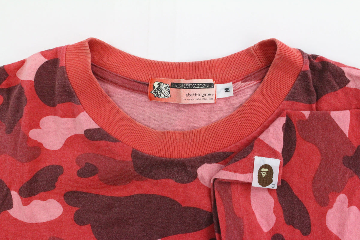 Bape Text Red Camo Tee - SaruGeneral