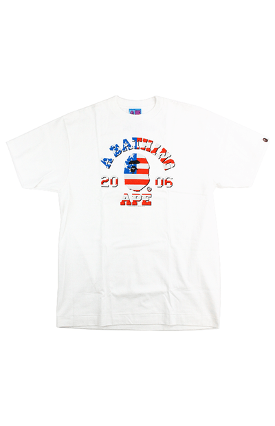 Bape US Flag 2006 College Logo Tee White - SaruGeneral
