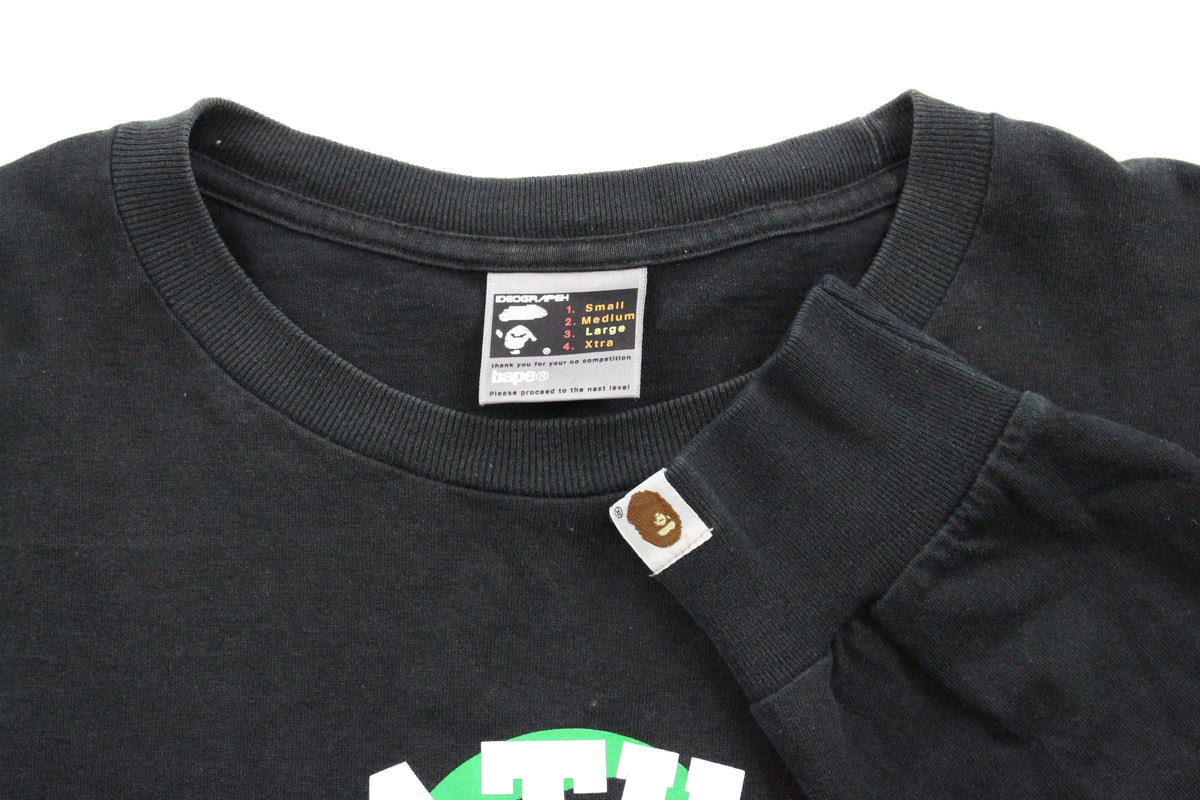Bape White College Logo Green Outline Milo 2005 LS Black - SaruGeneral