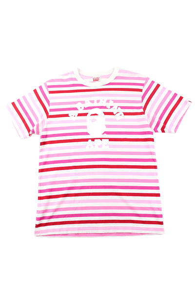 Bape White College Logo Pink Striped Tee - SaruGeneral