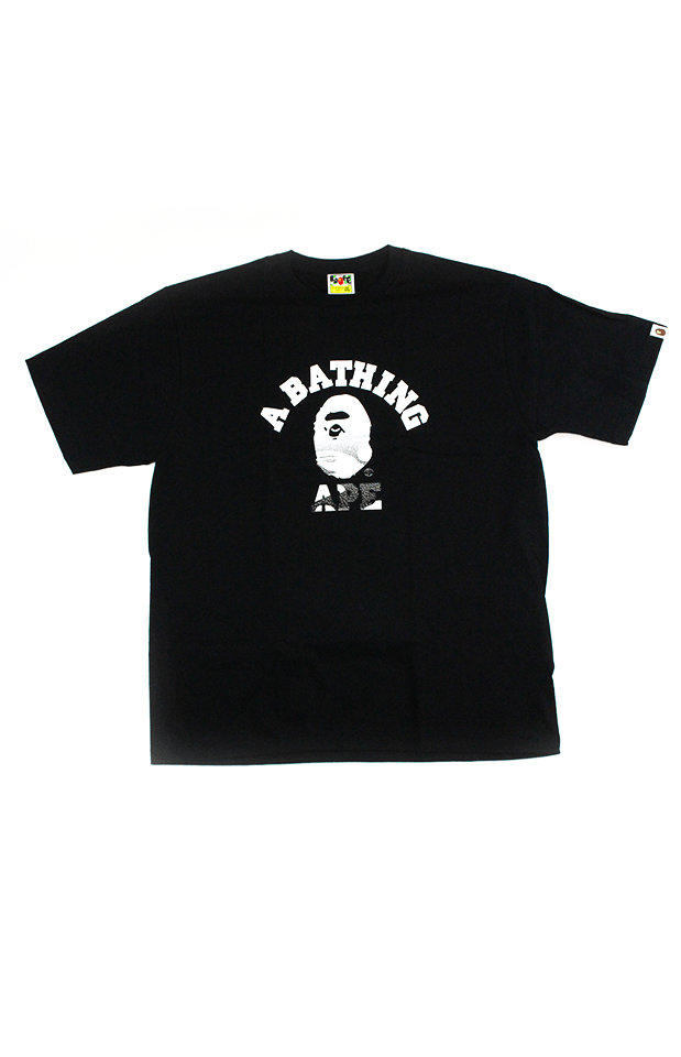 Bape black-White gradient College Logo Tee Black - SaruGeneral