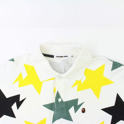 Bape Yellow & Green Bapesta Print Polo White - SaruGeneral