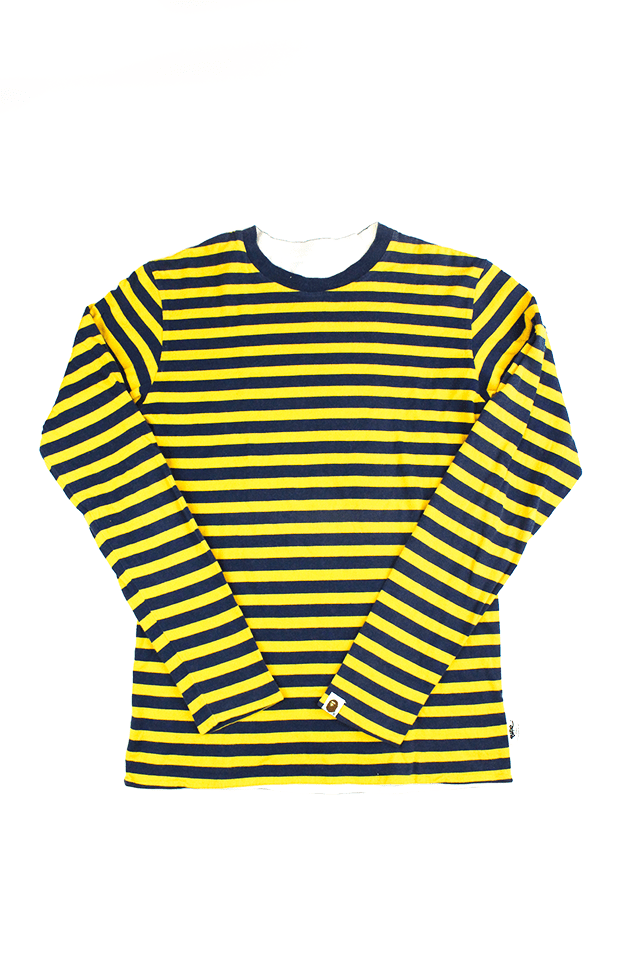 Bape Yellow & Navy Striped LS Reversible Tee - SaruGeneral