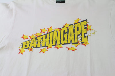 Bape Yellow Text Stars Tee White - SaruGeneral