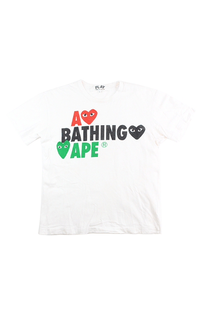 Bape x CDG Hearts Text Tee White - SaruGeneral