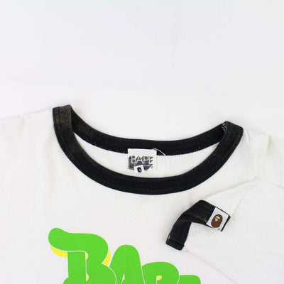 Bape x Kaws Big Ape Logo Green Text LS White - SaruGeneral