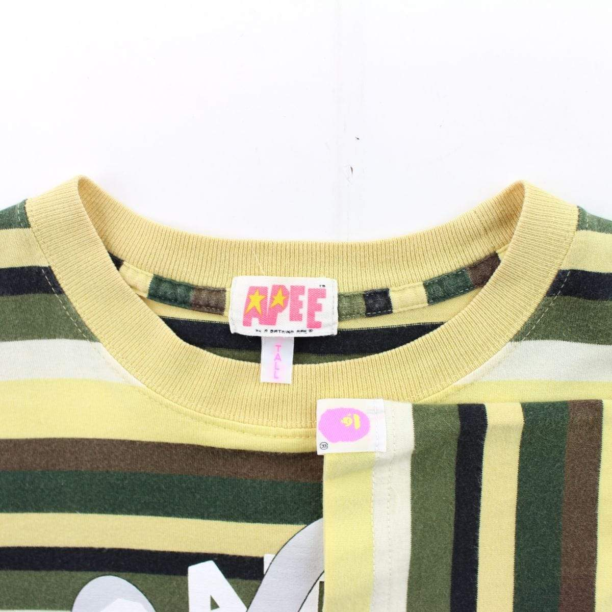 Bape x Kaws College Logo Tee Yellow Striped - SaruGeneral