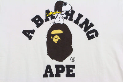 Bape x Snoopy College Logo Tee White - SaruGeneral