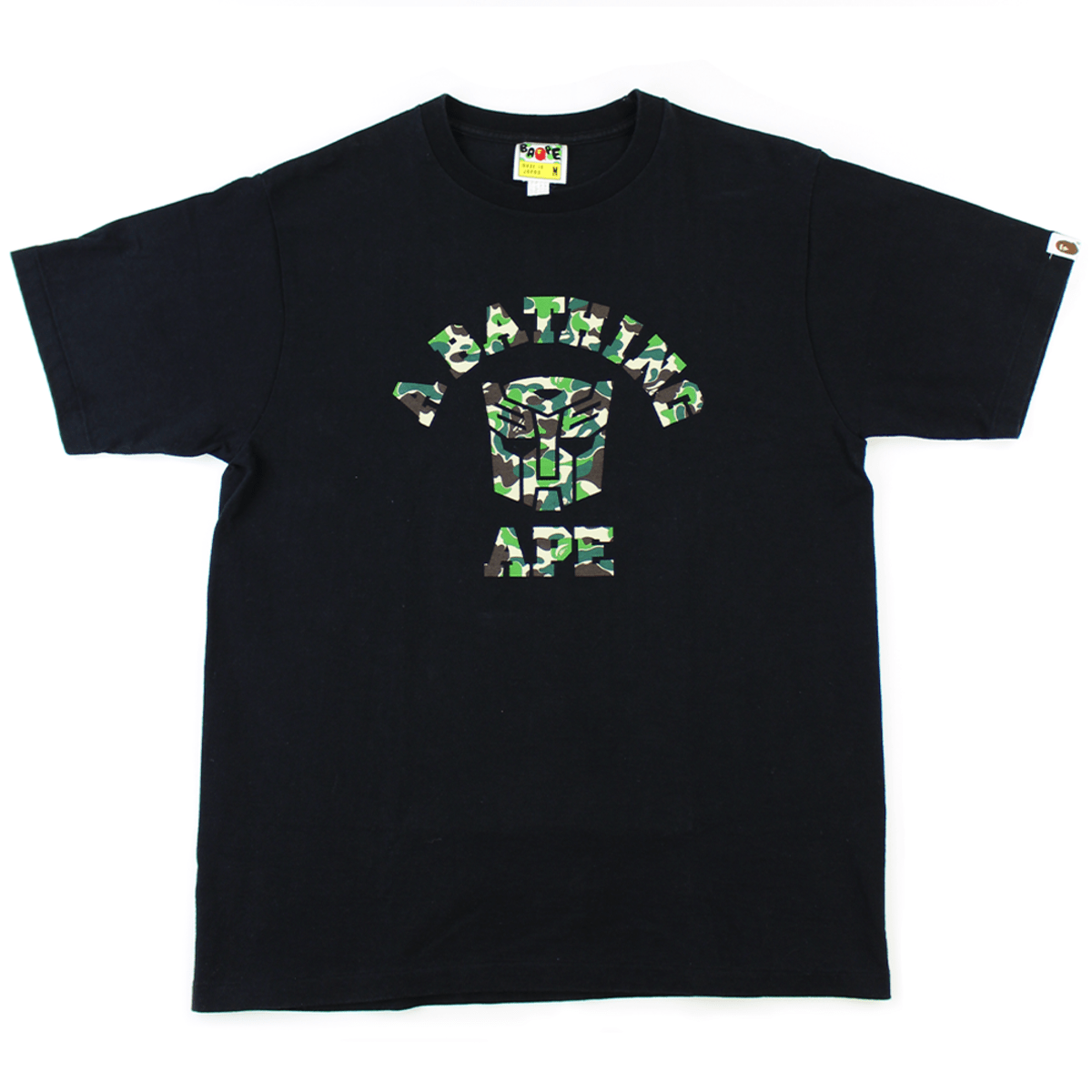 Bape x Transformers ABC Green Camo College Logo Tee Black - SaruGeneral