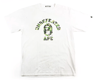 Bape x Undefeated Green Camo College Logo Tee White - SaruGeneral