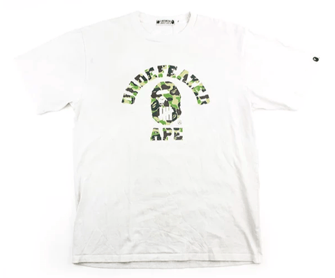 f3bf7d2b Bape x Undefeated Green Camo College Logo Tee White - SaruGeneral