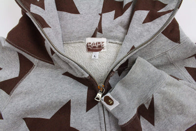Bapesta Brown All Over Full Zip Hoodie Grey - SaruGeneral