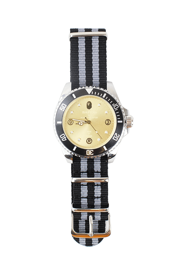 Bapex black silver strap gold face