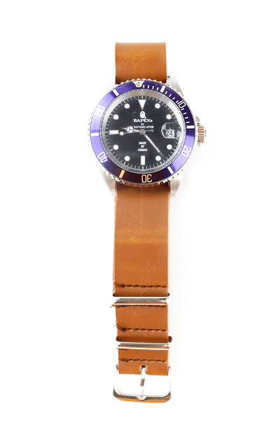 Bapex purple silver leather strap - SaruGeneral