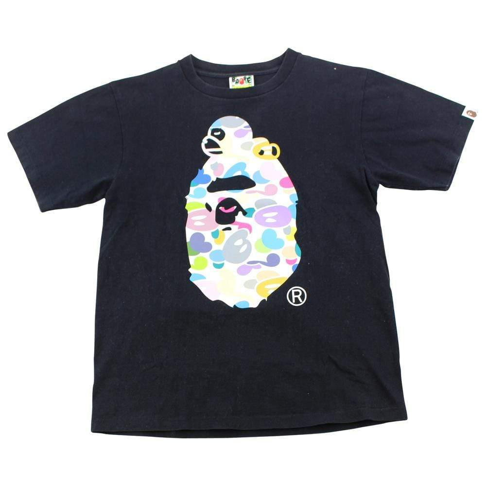Bape Multi Camo Sleeping Milo Big Ape Logo Tee Black