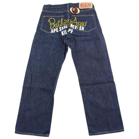 Bape yellow rope asnka text denim jeans - SaruGeneral