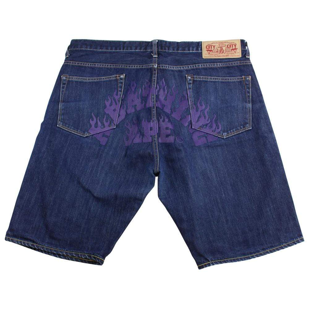 bape purple flame text denim shorts - SaruGeneral