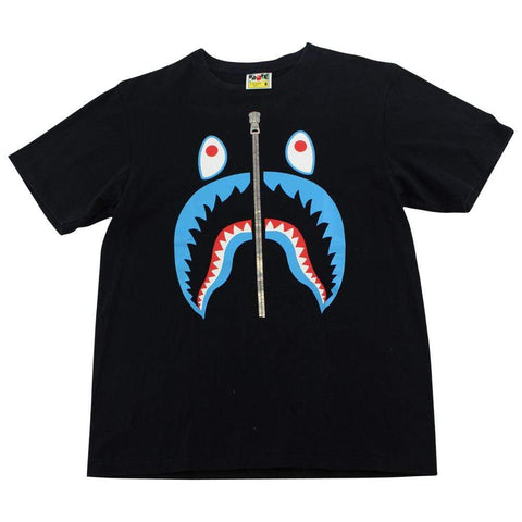 Bape Blue Shark Face Tee Black - SaruGeneral