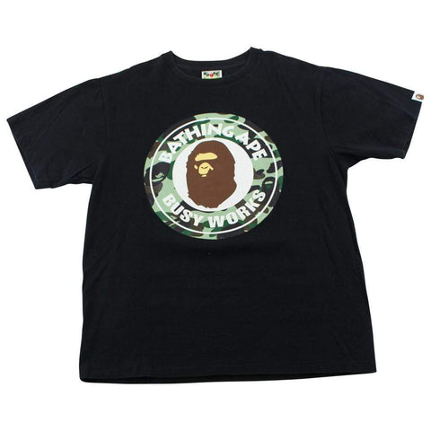 Bape 1st Green Busy Works Logo Tee Black - SaruGeneral