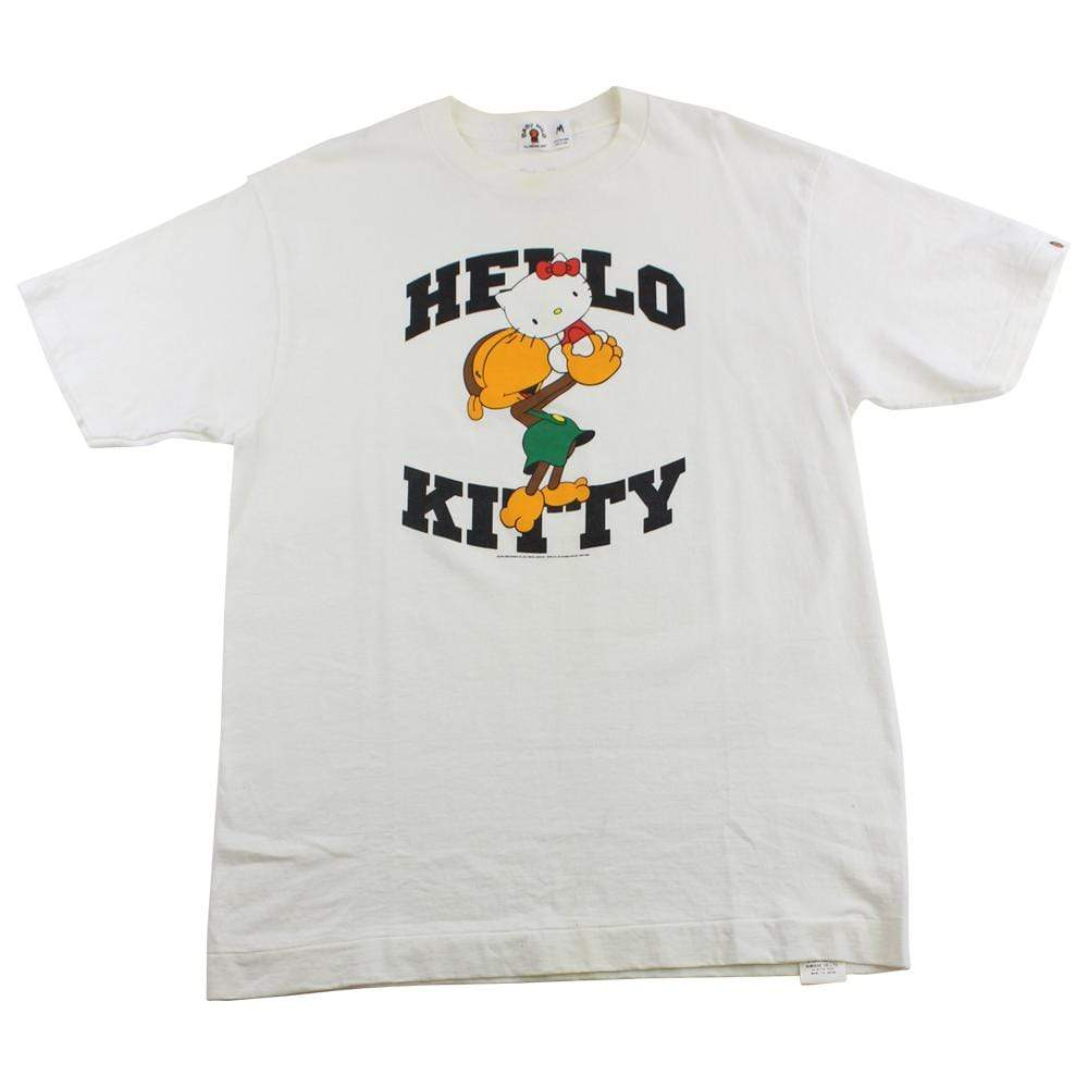 Bape x Hello Kitty Logo Tee White - SaruGeneral