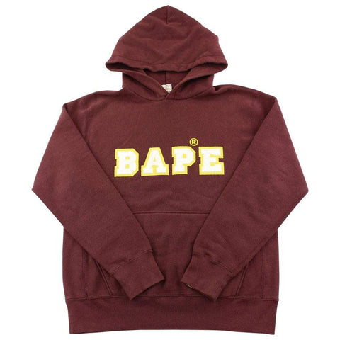 bape embroidered spellout hoodie brown - SaruGeneral