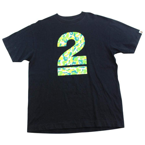 Bape Green & Yellow 2 Logo Tee Black - SaruGeneral