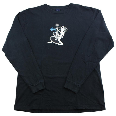 Stussy Bass Player Logo LS Tee Black - SaruGeneral