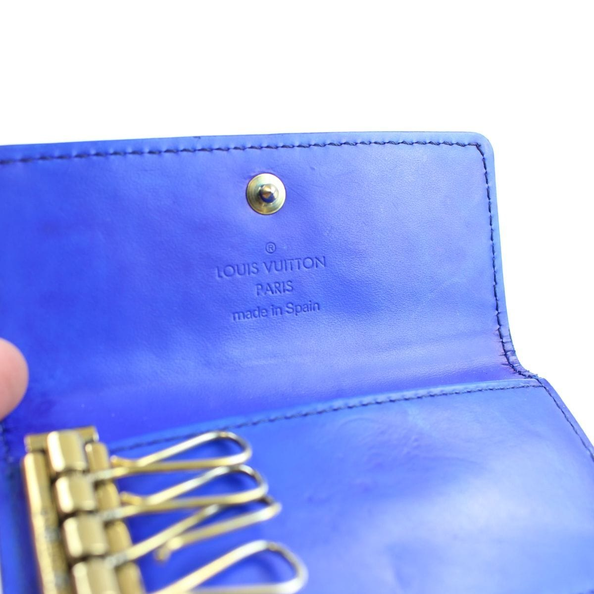 louis vuitton blue monogram vernis leather key holder - SaruGeneral