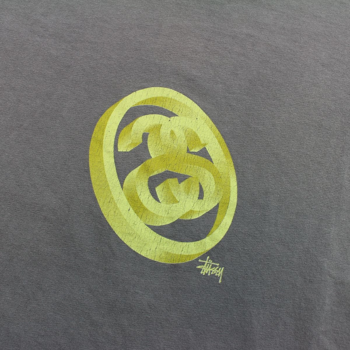 Stussy Gold 3D Double S Circle Logo Tee Grey - SaruGeneral
