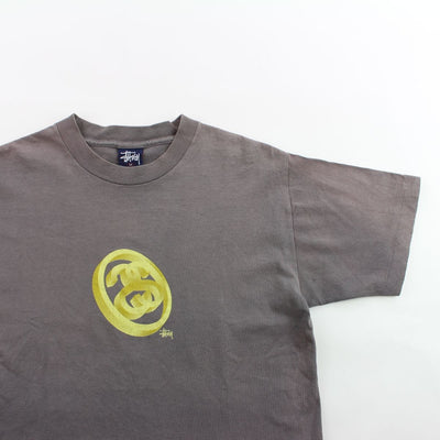 Stussy Gold 3D Double S Circle Logo Tee Grey
