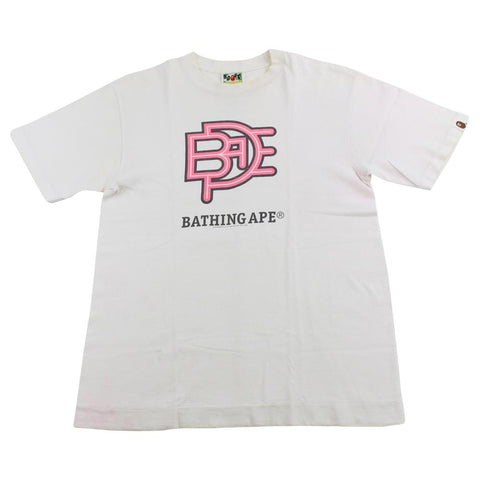 bape pink text tee white - SaruGeneral