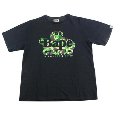 Bape Sleeping ABC Green Camo Milo Tee Black - SaruGeneral