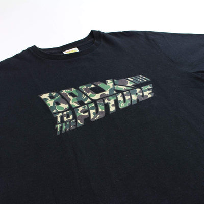 Bape x Back to the Future Green Camo Logo Tee Black - SaruGeneral