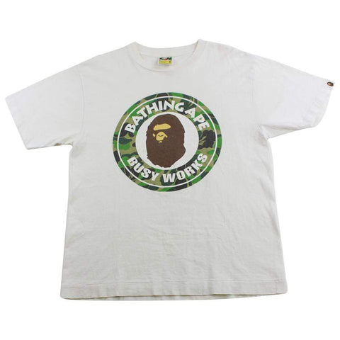 Bape ABC Green Camo Busy Works Logo Tee White - SaruGeneral