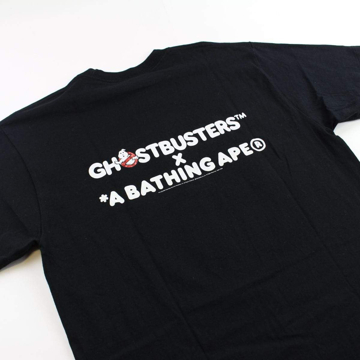 Bape x Ghostbusters red camo ghost logo tee black - SaruGeneral
