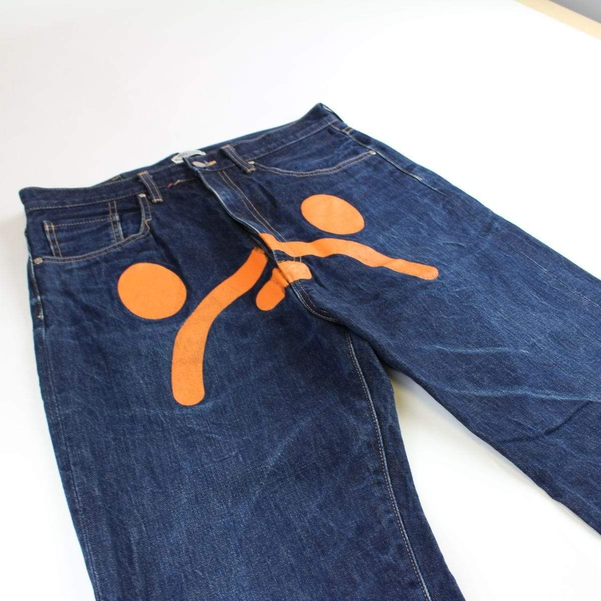 bape orange milo denim jeans - SaruGeneral