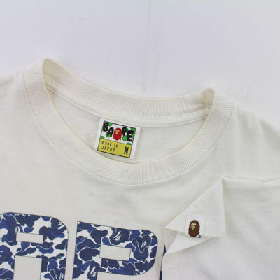 Bape A.S.N.K.A Blue Camo Text Tee White - SaruGeneral